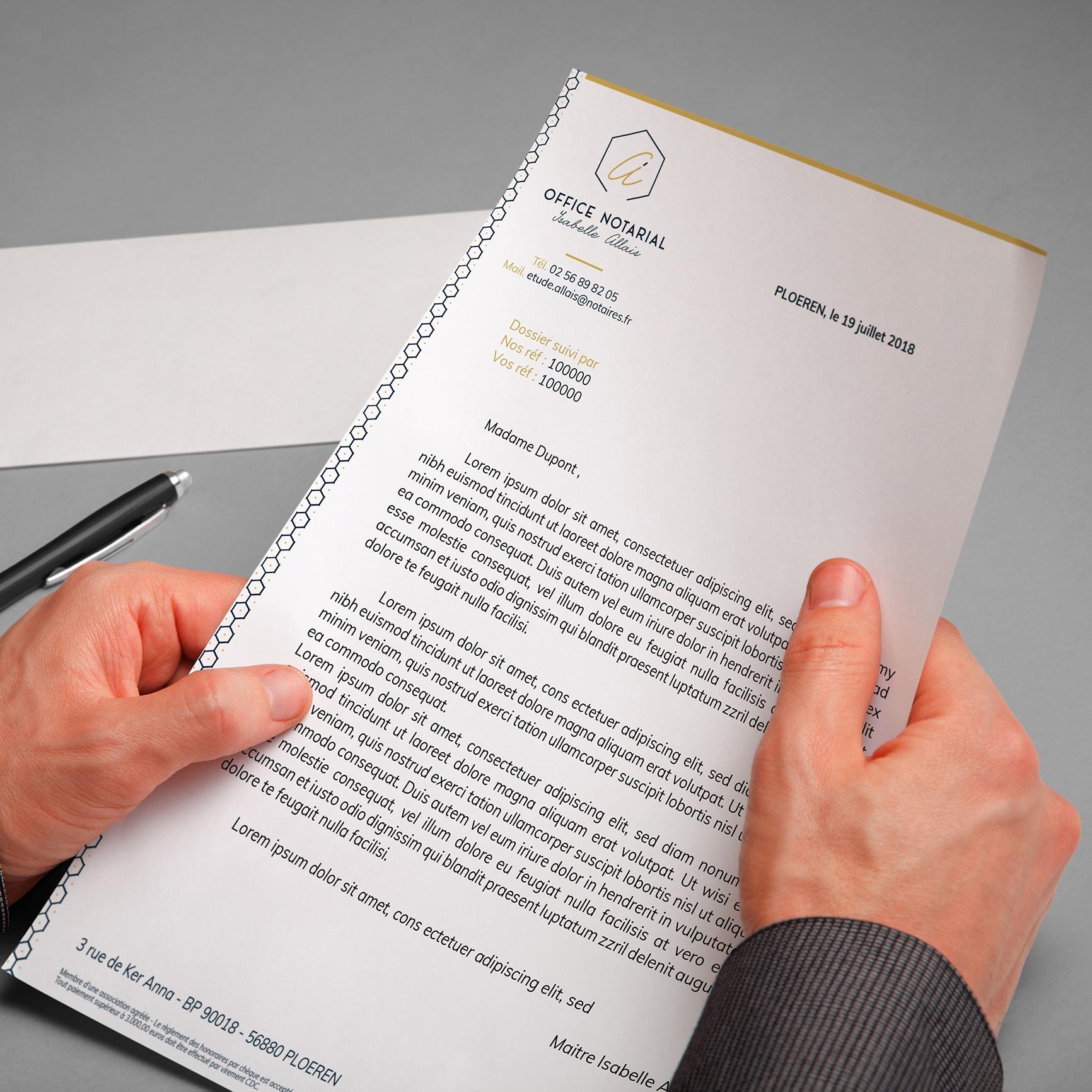 Tête de lettre office notarial isabelle Allais